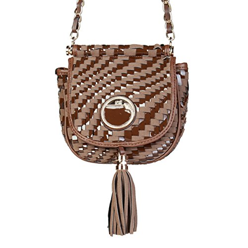 00 Brown Crossbody Bag RRP Cavalli Women Body £320 Cross Class Genuine Bag Designer wX674Fq