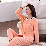 MOXIN Autumn and Winter ladies Pajamas Long Sleeves Set Lattice Home Service Lovely sweet , L , A