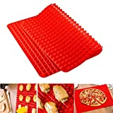 Non-stick Silicone Baking Mat 16x11.5 Inch Cooking Baking Tray Kitchen Tool for Chicken Wing Cookies Pizzas Pretzels Red