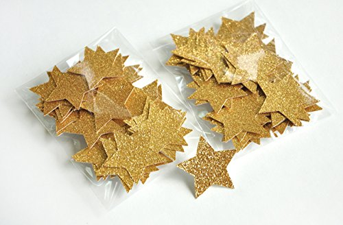 Glitter-Gold-Star-Confetti-Birthday-Party-Decorations-Premium-No-Shed-Glitter-Paper-Stars-2-Packs-50ct-each