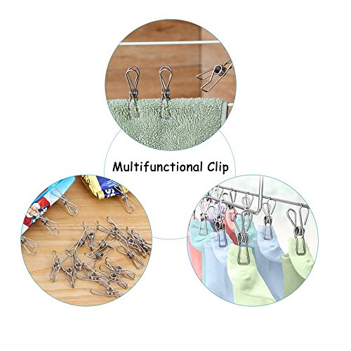 120 Pack Stainless Steel Cloth Pin, 2.2 Inch Clothesline Hook for Socks Towel Bag Scarfs Hang Drying Rack Tool, Laundry Kitchen Cord Wire Line Clothespins Pegs, File Paper Bookmark S Binder Metal Clip by Eleling (Image #3)