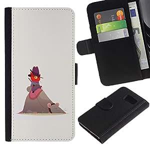 A-type (Lindo gato divertido ratón Rojo Beige vaquero) Colorida Impresión Funda Cuero Monedero Caja Bolsa Cubierta Caja Piel Card Slots Para Samsung Galaxy S6