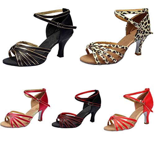 Cheville Brown Standard Latin Talons Chaussures Femme Léopard Satin Ballet Sociale Imprimé Fête Salsa Jazz Sangle Sandales Cross Latine Boucle Femmes nHSvqwPx8P