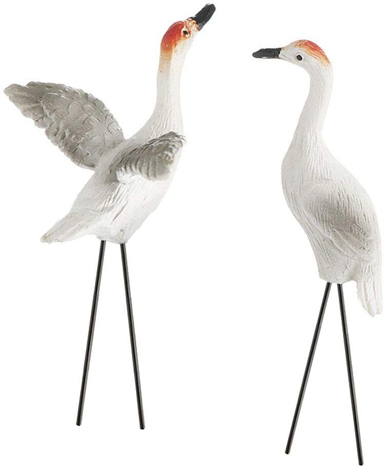 Miniature Fairy Garden Set of 2 Sandhill Cranes Picks 2.75 Inch