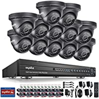 SANNCE AHD 16CH 1080P Video DVR Recorder and (12) HD 1080P Security Cameras System, IP66 Weatherproof Housing,No Hard Drive Included