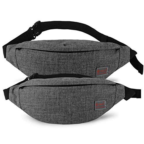 Men Canvas Backpack School Casual Laptop Backpack Leisure Male Waist Belt Bag Crossbody gray x2 ()