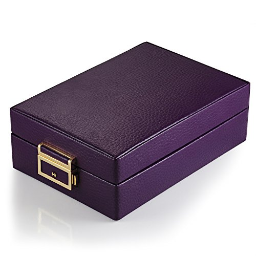 MBLife Laminated Leather Double Layer Mirror Travel Jewelry Box Organizer Purple