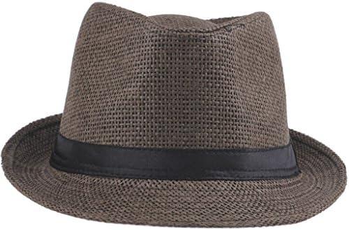 Eozyおしゃれ ユニセックス帽子 サマービーチキャップ UV麦わら帽子 紫外線対策 帽子メンズ レディース 無地ポークパイ帽子ZDS (3 brown)