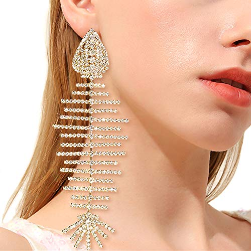 - QTMY Statement Big Large Long Fish Skeleton Earrings Diamond Jewelry for Women Zircon 18K Gold Plated
