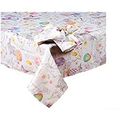 Easter Wishes and Blossoms Print Fabric Tablecloth (60 x 120 Rectangle/Oblong)