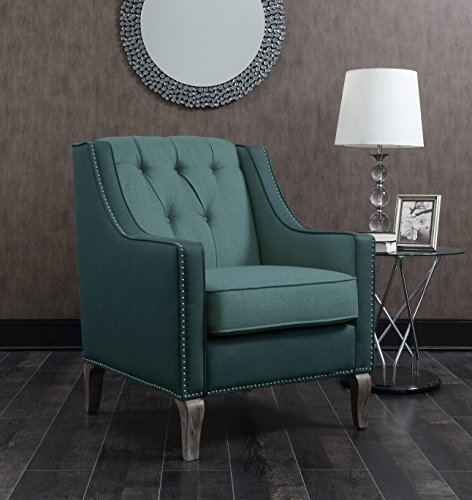 Iconic Home FAC2706-AN Mixed Material Linen Leatherette Nailhead Ethan Accent Chair, Blue ()