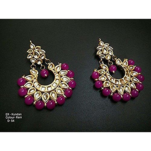 (TIPTOP-Bollywood Indian Ethnic Dangle Kundan Earring Bridal Party Traditional Jewelry)