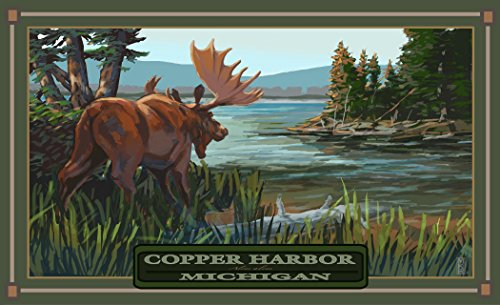 "Northwest Art Mall MR-3968 RX BEM Copper Harbor Michigan Back End of Moose 11""X17"" Print by Artist Mike Rangner"