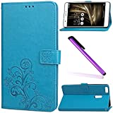 ASUS ZenFone 3 Ultra Case Cover EMAXELER Stylish Colour Kickstand Credit Cards Slot Cash Pockets Embossing PU Leather Flip Wallet Case For Zenfone 3 Laser ZU680KL Clover Blue