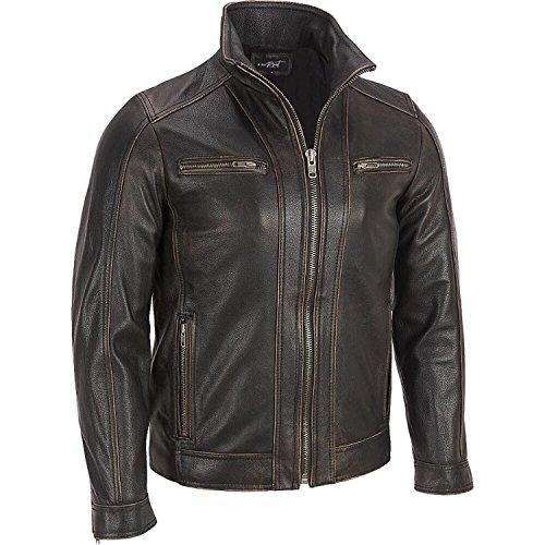 cuciture Garments Bovina Colore Leather Superior Giacca Da Sbiadito Pelle Di In Uomo Nero rivetti T4Bxwqx8