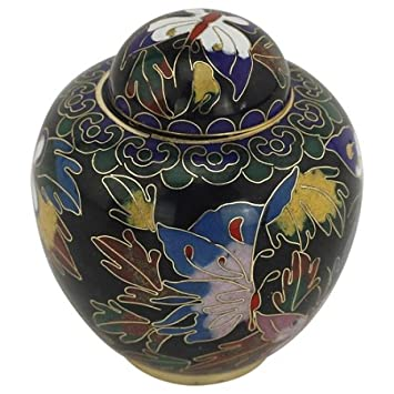 Silverlight Urns Butterfly Cloisonne Keepsake Urn, Mini Urn for Ashes, 3 Inches High, Sharing Urn for Cremation Ashes
