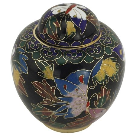 Cloisonne Keepsake - Silverlight Urns Butterfly Cloisonne Keepsake Urn, Mini Urn for Ashes, 3 Inches High, Sharing Urn for Cremation Ashes