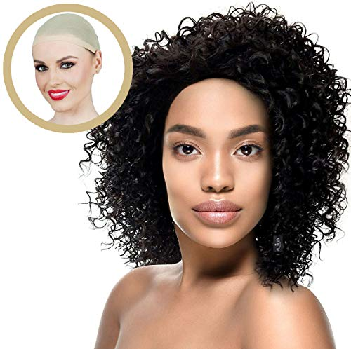 ALLAURA Curly Wigs for Black Women: Natural Black Hair Wigs + Wig Cap + Heat Resistant]()