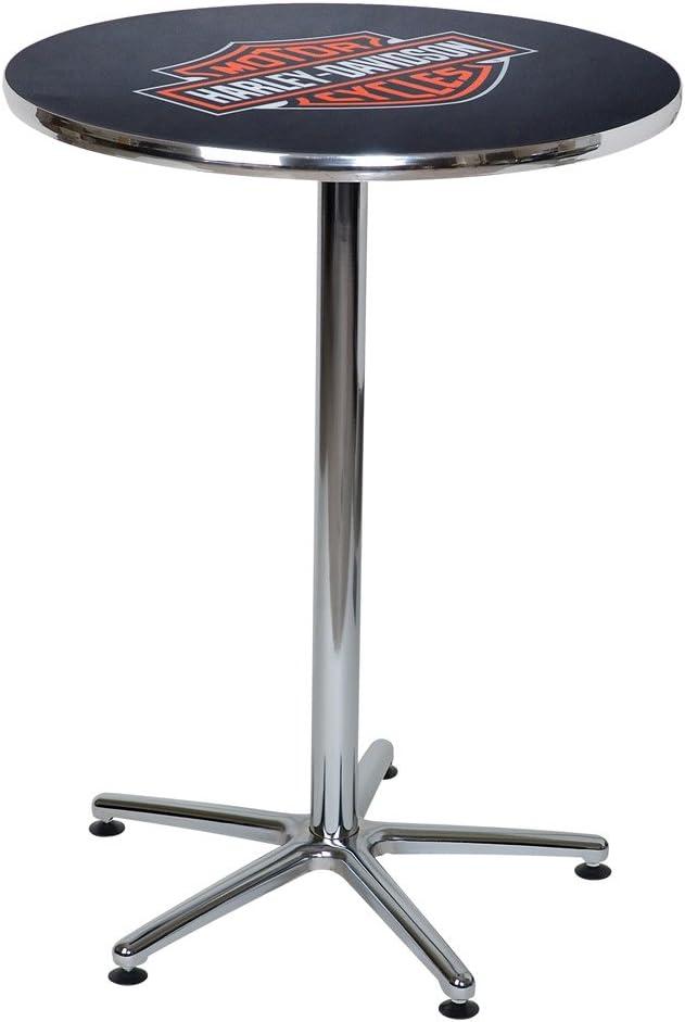 HARLEY-DAVIDSON Bar Shield Logo Round Cafe Table, Durable Chrome HDL-12314