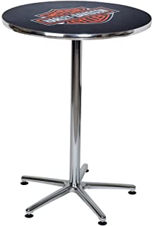 Merveilleux Harley Davidson Bar U0026 Shield Logo Round Cafe Table, Durable U0026 Chrome HDL