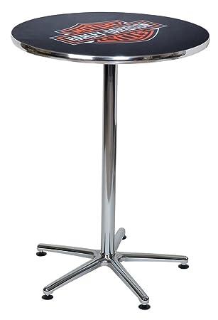 Harley Davidson Bar U0026 Shield Logo Round Cafe Table, Durable U0026 Chrome HDL