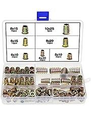 HSeaMall - Juego de 120 tuercas hexagonales de aleación de zinc M4 M5 M6 M8 M10 insertos roscados para muebles de madera con caja de plástico