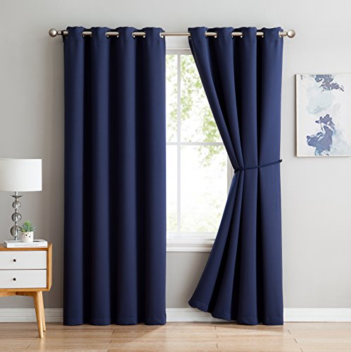 One Grommet (Nicole - Premium Thermal Insulated Blackout Curtain Panel - 8 Grommets - 1 Rope Tieback - 54 Inch Wide - 63 Inch Long (1 Panel 54W x 63L, Navy))