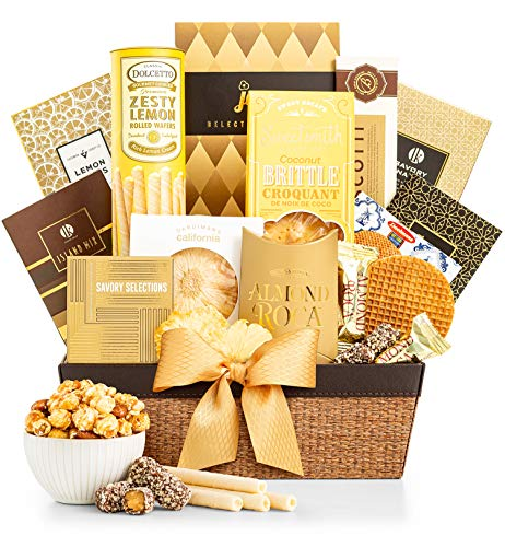 GiftTree As Good As Gold Gourmet Food & Snack Gift Basket | Includes Almond Roca, Sweet Popcorn, Bourbon Creme Caramels & More | Great Present for Christmas, Birthday, Thank You ...