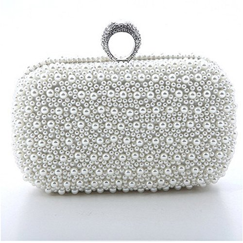 Ailina Pearl Encrusted Evening bag Clutch Purse Party Bridal Prom with Crystal Ring