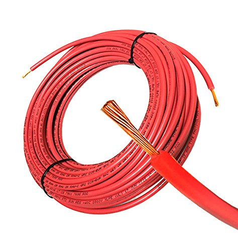 50FT Solar PV Cable, 12 AWG, 2000V Wire, UL 4703 Listed, Copper, PV Approved & Sunlight Resistant, RED Color For Sale