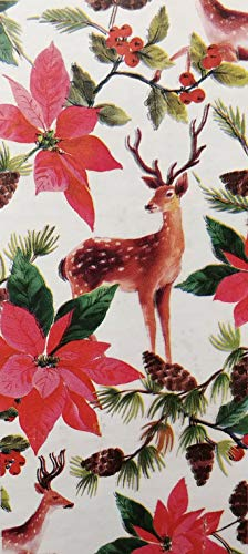 Deer and Poinsettia Flower Design - Stylish & Classic Christmas Gift Wrapping Paper Roll