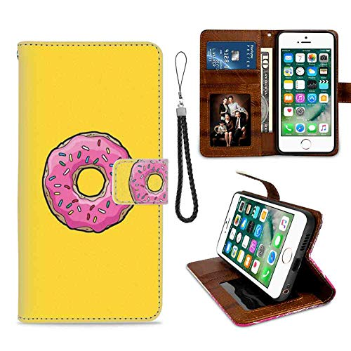Wallet Case Fits for iPhone 8 Plus/7 Plus (5.5 Version) Bart Dough Doughnut Food Frosting Homer Lisa Maggie Marge Pink Snack Sugar Sweet The Treat Yellow with Card Holder ()