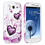 eForCity TPU Rubber Case Compatible with Samsung© Galaxy S III / S3 i9300, Pink Heart