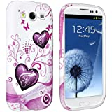 eForCity® TPU Rubber Case Compatible with Samsung© Galaxy S III / S3 i9300, Pink Heart