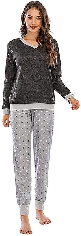Primavera y otoño Pijamas cómodos de Manga Larga para Mujer ...