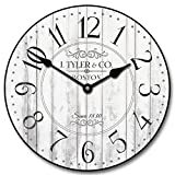 Harbor White Wall Clock, Available in 8 sizes, Most Sizes Ship 2 - 3 days, Whisper Quiet.