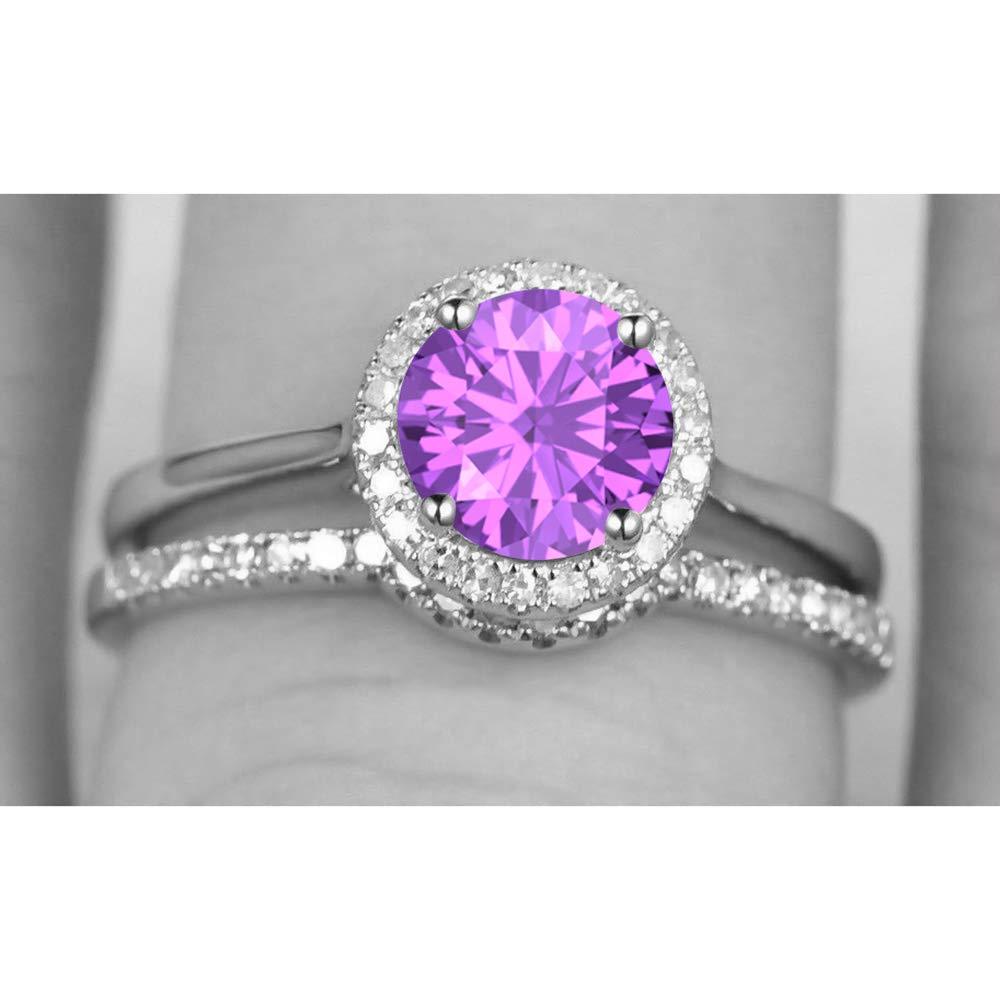 Dabangjewels 2pcs Round Gemstone 14K White Gold Plated Engagement Solitaire Wedding Band Ring for Women