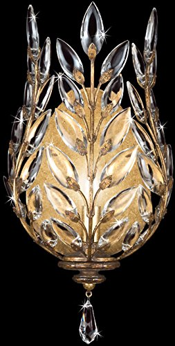 Laurel Chandelier Gold Crystal (Fine Art Lamps 773850, Crystal Laurel Crystal Wall Sconce Lighting, 1 Light, 60 Total Watts, Gold)