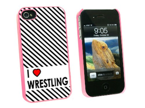 Graphics and More I Love Heart Wrestling Snap-On Hard Protective Case for Apple iPhone 4/4S - Non-Retail Packaging - Pink