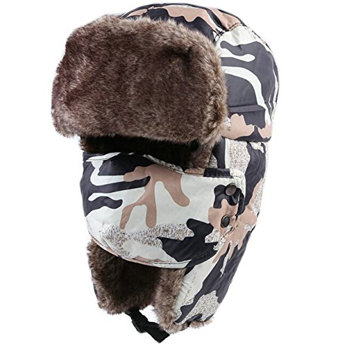 Joyci Unisex Winter Ear Flap Camouflage Plush Hat Trooper Ski Leifeng Cap Trapper (Black)