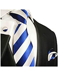 Necktie, Pocket Square and Cufflinks 100% Blue White Stripes