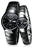 Couple Watches Black Ceramic Waterproof Sapphire Crystal Quartz Wristwatch For Her or His Gift Set (Couple Watch Black)
