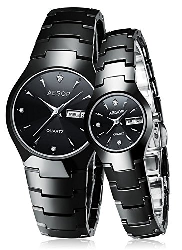 Couple Watches Black Ceramic Waterproof Sapphire Crystal Quartz Wristwatch For Her or His Gift Set (Couple Watch Black) by MASTOP