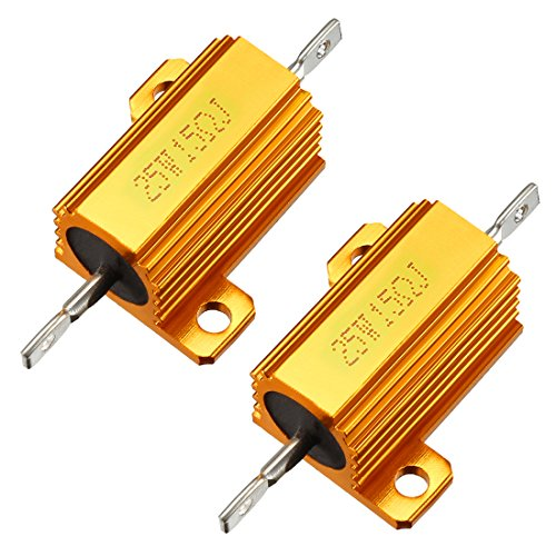 uxcell 25W 15 Ohm 5% Aluminum Housing Resistor Screw Tap Chassis Mounted Aluminum Case Wirewound Resistor Load Resistors Gold Tone 2 pcs