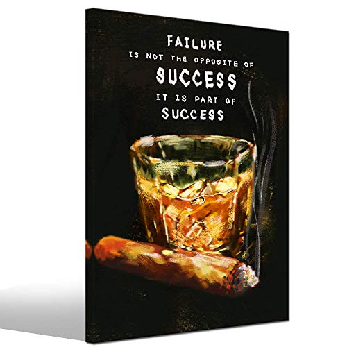 LevvArts - Success Inspirational Wall Art Vintage Whiskey Cigar with Motivation Quote Paintings Canvas Print Framed Ready to Hang Modern Pub Bar Man Bedroom Decor (Cigar Poster And Whiskey)