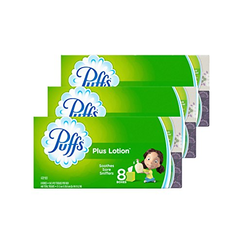 Puffs Plus Lotion Facial Tissues, 24 Cube Boxes (56 Tissues per Box) by Puffs