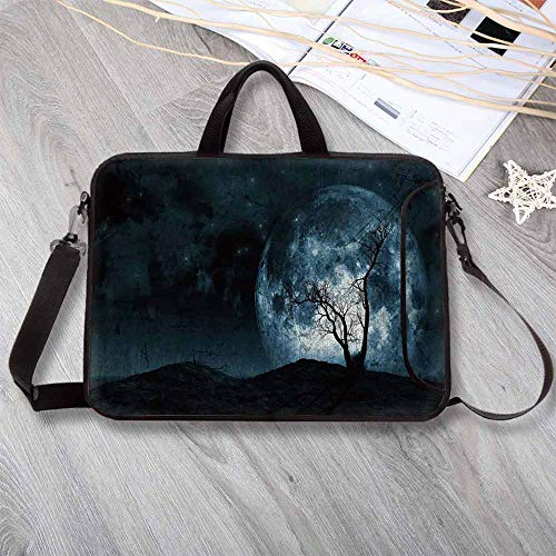 """Fantasy Printing Neoprene Laptop Bag,Night Moon Sky with Tree Silhouette Gothic Halloween Colors Scary Artsy Background Laptop Bag for 10 Inch to 17 Inch Laptop,13.8""""L x 10.2""""W x -"""