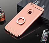 iPhone 8 case, iPhone 7 case, HD Screen Protector Tempered Glass Film Kit, Hard PC Back Cover with Ring Holder for Apple, Shockproof and Anti-Scratch(pink iphone 7/8)