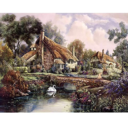 5D DIY Diamond Embroidery Mosaic Pattern Log Cabin Picture Home Decor Gift Full Square Diamond Painting Cross Stitch Kits (Cross Stitch Log Cabin)