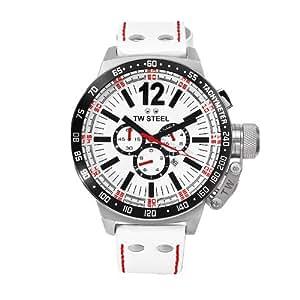 Tw Steel CE1014 - Reloj para hombre con correa de cuero, color blanco / gris